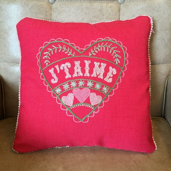 Folk Art style Hand Embroidered J'Taime Love Heart Pillow for Wedding Engagement Gift