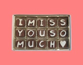 Long Distance Boyfriend Gift for Men Women Her Him BFF BF I Miss You So Much Cubic Chocolate Letters Romantic Valentines Day Anniversary