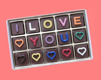 Customized Gifts for Girlfriend Personalized Gift for Him Men Valentines Romantic Message I Love You Custom Name Jelly Bean Chocolate Cube