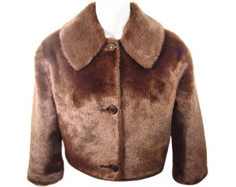 Faux Fur Jacket, Bolero, Custom, Vintage Early 1960s