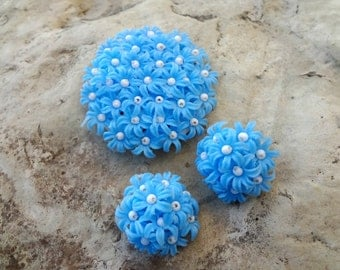 Powder Blue Brooch with Matching Clips / Hong Kong Signed / Plastic Flowers with Bright White Beads / Hand Wired / Floral Set