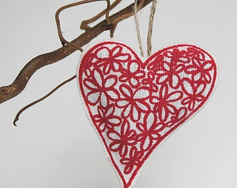 ON SALE/ Red Heart Ornament/ Lavender / Christmas Gift Idea/ Hand Printed Organic Linen/ Ready To Ship