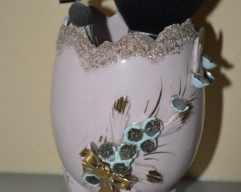 Pink Egg Shaped Vase with Floral Accents