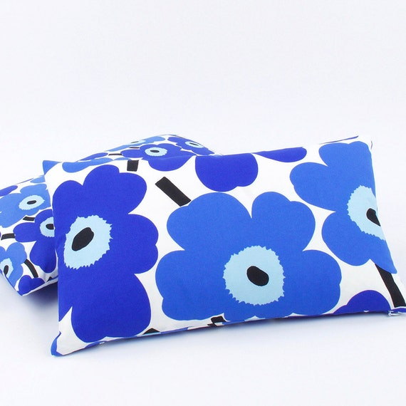 Marimekko Unikko Blue Pillow Cover 12x20 by ChloeandOliveDotCom