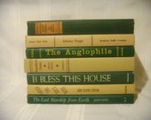 Vintage Books By Color, Green and Cream Book Bundle, Decorative Book Set, Wedding Table Decor, Home Library Decor, Photo Booth Props