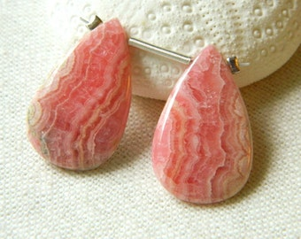 SALE--AMAZING and rare Matched Pair of AAA smooth Rhodochrosite pear briolettes beads 24.5mm x 15.5mm