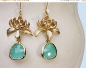 20 off. Lotus Flower Earrings. Dangling Flower Earrings with Framed Aqua Crystal Drop in Gold or Silver. Bridal Wedding Jewelry.