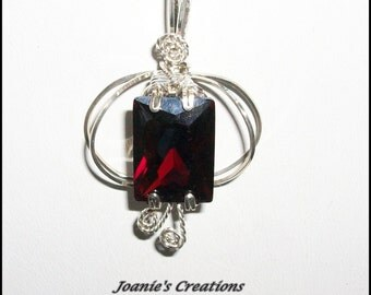 Red Garnet CZ Pendant in Silver Filled Wire with Chain
