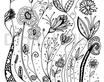 Adult Coloring Pages, Whimsical Wild Flowers Design, Adult Coloring Page, INSTANT DOWNLOAD,  Kids Colouring Page, Kids Craft Activity