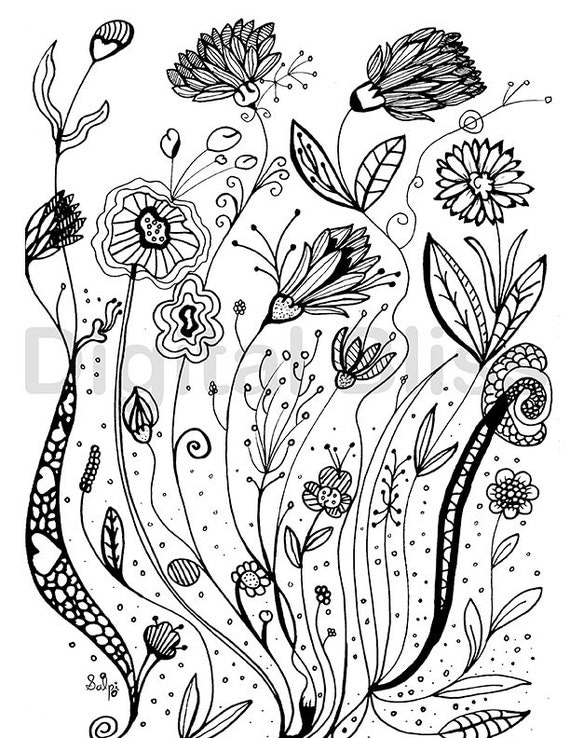 Adult Coloring Pages Whimsical Wild Flowers Design Page INSTANT DOWNLOAD Kids Colouring Craft Activity From DigitalBliss On