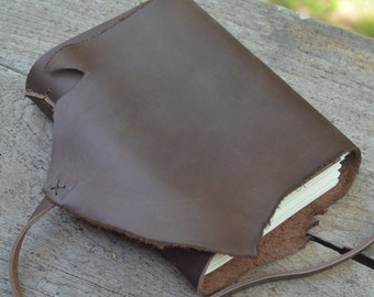 """ROUGH & SMOOTH: One-of-a-kind Leather Journal, handmade, 5X7"""""""