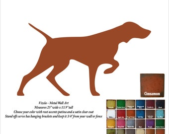 "Vizsla metal wall art - 25"" wide - Choose your patina color - dog silhouette painted rusted steel hanging - Vizsla metal wall art profile"