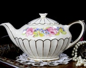 Gorgeous Sadler Teapot, Gilded Panels and Pink Roses, Sadler Full Sized Tea Pot 12823