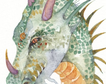 Grigori DRAGON  aceo watercolor PRINT giclee myth mystical - Free Shipping