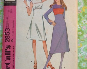 5 BUCKS Vintage McCall's 2853 Color Block Dress Sewing Pattern 32 1/2 Inch Bust