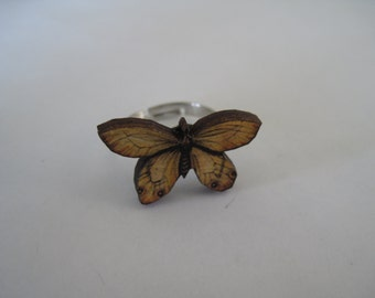 Yellow Butterfly Adjustable Ring