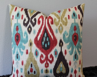 "SALE - SET Of TWO - Django Ikat Print in Persia - 20"" x 20"" Decorative Designer Pillow Covers - Turquoise, Red, Dark Brown and Amber"