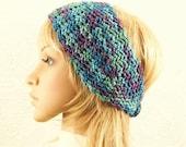 Crochet headband, headwrap, ear warmer - purple, blue, dusty green color mix - Winter Accessories Sandy Coastal Designs - ready to ship