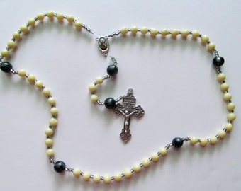 St. Micheal the Archangle Glow in the Dark Clay Rosary, clay, handmade, rosary for boys