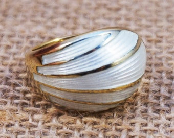 David Andersen Norway Sterling Silver Gold Plate and White Guilloche MCM Mid Century Modern Ring