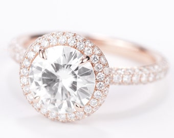 CERTIFIED - colorless 8 mm Forever ONE Round Brilliant Moissanite & Diamond Halo Engagement Ring 14K Rose Gold