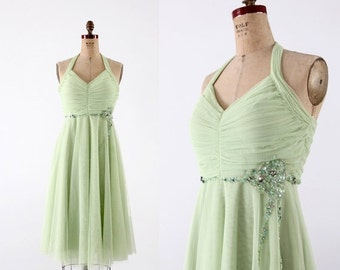 SALE vintage tulle party dress, small green dress