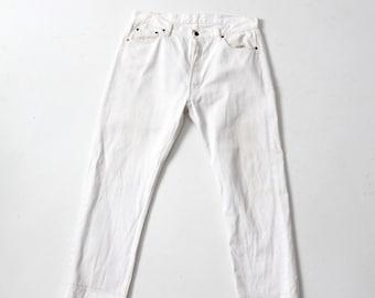 white Levis 501 jeans, 1980s vintage denim jeans 38 x 32
