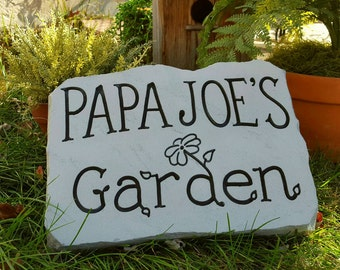 GARDEN Stone - Personalized Garden Stone - Anniversary - Garden Sign - Carved Rock - Gifts for Him - Memorial Stone