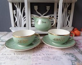 "French Vintage DUO Villeroy & Boch ""Toi Et Moi""  Nous Deux"" Cups Saucers and Cream Pot"