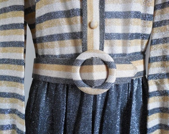 1960s M OD Parues Feinstein Designer metallic dress with large mod belt buckle