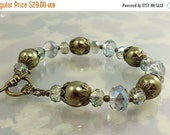 ON SALE Pearl and Crystal Bracelet, Golden Olive Pearl and Mystic Teal Crystal