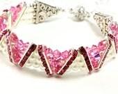 ON SALE Swarovski Crystal and Pearl Bracelet, Rose Crystal Bracelet, White PearlBracelet, V Design Bracelet, Cuff Bracelet, Bridal, Valentin