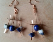 NEWEST EARRINGS - Lapis Lazuli, Sodalite and Copper In a Primitive Design
