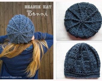 Beani hat jeans blue ( grey blue mix ) name Bonni