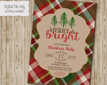Christmas Party Invitation, Christmas Party Invites, Holiday Party Invites, Christmas Party Printable, Glitter Plaid Kraft Paper Invite