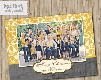 Christmas Photo Card- Holiday Photo Card - Printable Christmas Damask