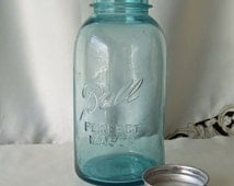 Vintage Ball Perfect Mason Half Gallon Jar Canning Jar Blue Canning Jar Farm Kitchen