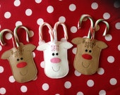 PERSONALIZED Reindeer CHRISTMAS ORNAMENT ~ Candy Cane Holder ~ Felt Or Vinyl ~ Machine Embroidered