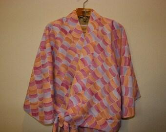 Vtg Japanese Handmade Easy Day Jacket and Skirt Kimono Set Colorful Small Medium