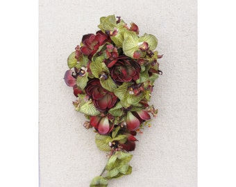 Burgundy Succulent Wedding Bouquet Cascading Ready to Ship