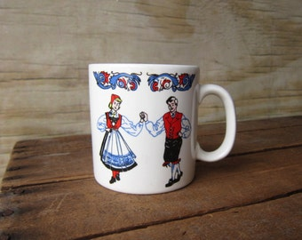 Vintage Scandinavian  Mug Folk Dancers
