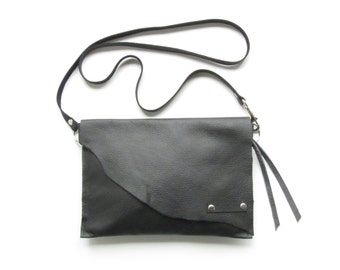 Black leather cross body bag // Rustic leather bag // Raw edge leather bag