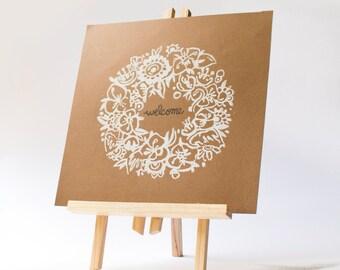 LINOCUT PRINT- garland of Flowers and word - artistic print- linogravure