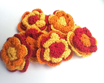 Crochet Flower Appliques - 6 Three Layered Flowers in Fall Color