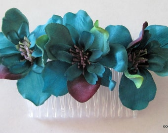 Triple Teal Blue,Purple,Green,Apple Blossom Silk Flower Hair Comb