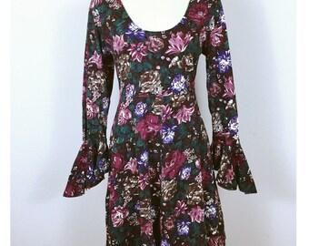 Rad 90's Burgundy floral Jumper Bell sleeve Dress, Flouncy Skater Grunge onesie, 1990's Vintage Rose Print Jersey Stretch Cotton, NOS, L