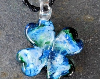 Lucky Shamrock Glass Cremation Pendant for Pets, Hand sculpted