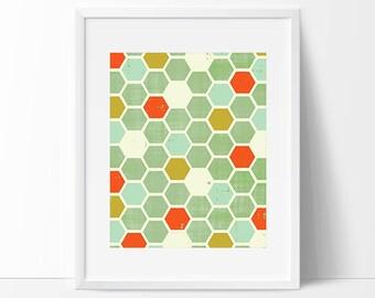 honeycomb, chevron pattern, geometric print, modern painting, mid century art, abstract art, modern art, mint art, minimal art, kids room