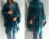 Fringed Poncho Cape Wool by PENDLETON Virgin PLAID One Size Fits Most