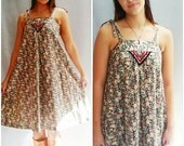 vintage 70s Boho Hippie Dress DITSY Floral Sundress tie straps
